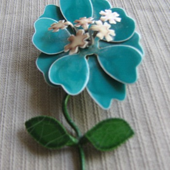 1960's-70's enamel flower pins - Costume Jewelry