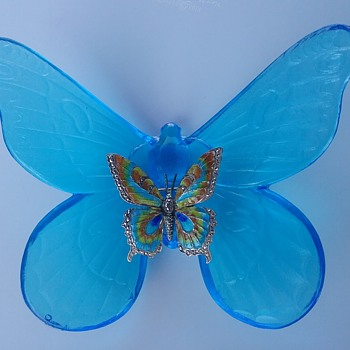 Caviness sterling butterfly brooch, Westmoreland Glass butterfly  - Costume Jewelry