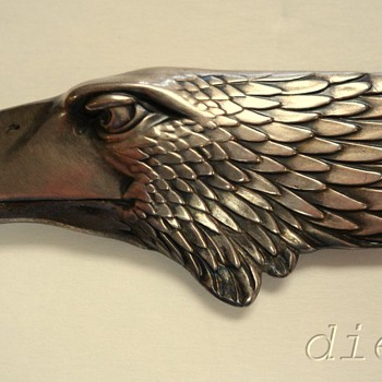 ART DECO/ART NOUVEAU NORWEGIAN? 830S SILVER EAGLE CELLULOID ANTIQUE LETTER OPENER - Silver