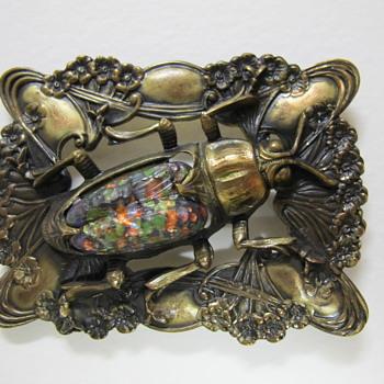 Art Nouveau Brass & Glass Sash Pin - Art Nouveau