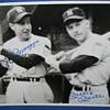Autographed B&W Photo of Joe DiMaggio & Mickey Mantle