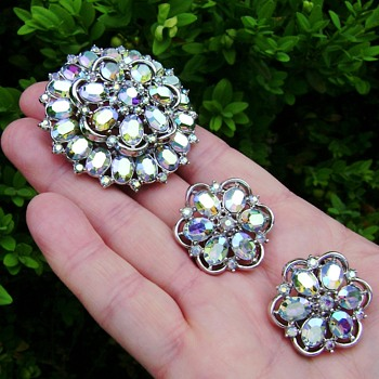 Trifari Aurora Borealis Flower Brooch Set - Costume Jewelry