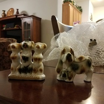 Group of Dogs!  3 are actually 1 figurine together plus a figurine of a Mom & her Pup