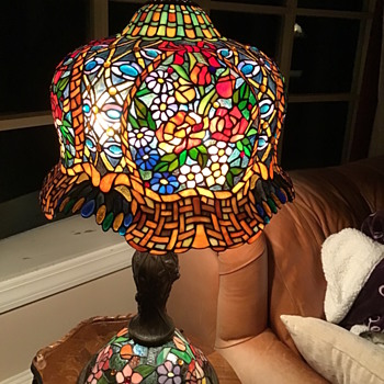 Unusual stained glass huge lamp - Art Glass
