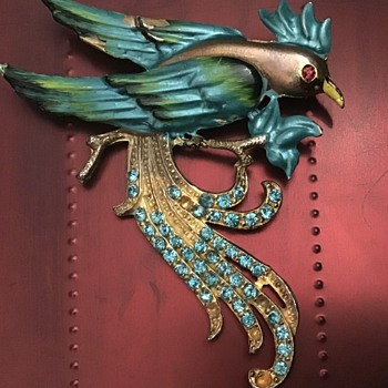 Old enamel bird - Costume Jewelry