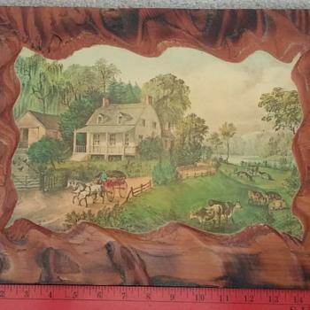 Decoupaged American Homestead Summer on Wood Plaque - Fine Art