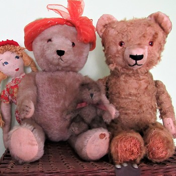 Antique Mohair Bears Excelsior Filled c.early 1900s - Dolls