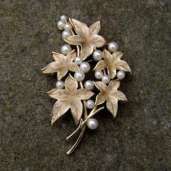 Crown Trifari Maple Leaf Brooch - Costume Jewelry