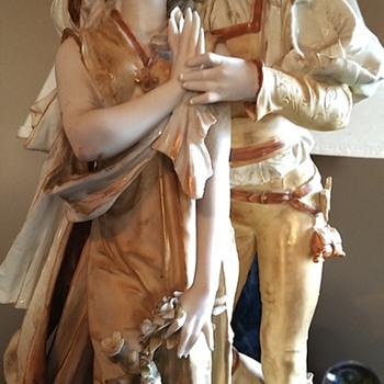 Romeo & Juliet table lamp, porceline bisque lamp.