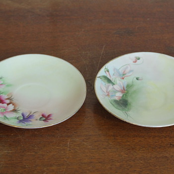 Unmarked Floral Saucers - China and Dinnerware