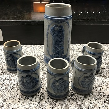 ANTIQUE BLUE SALT GLAZED STONEWARE MONK FRIAR Stein set