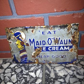 "RARE Porcelain Ice Cream Sign 6""x9"" - Signs"