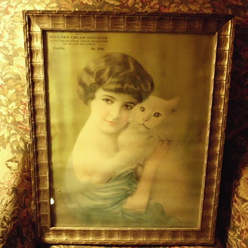antique picture / calender framed and used for picture