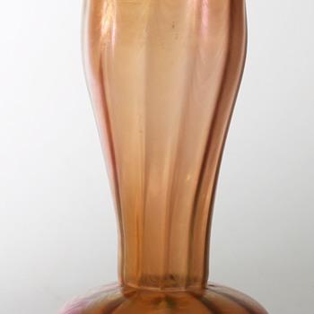 Ribbed Vase in Iridised Orange with Waves: Loetz PG 6893 ??? - Art Glass