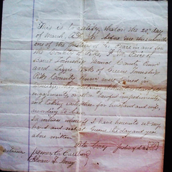 1878 Handwritten Marriage Certificate,  Monroe County PA