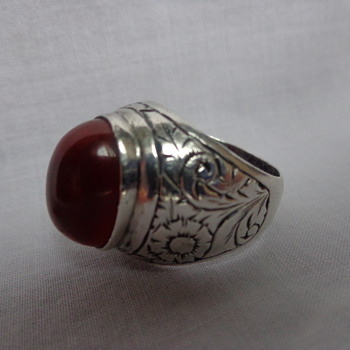 Unmarked Large Engraved Ring with Carnelian - Costume Jewelry