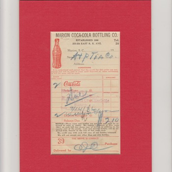 1936 Coca Cola A&P Tea Receipt - Coca-Cola