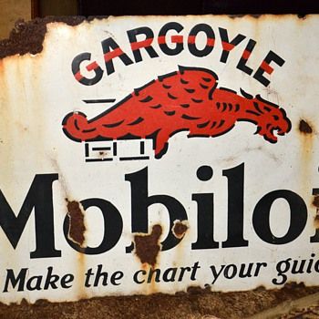 GARGOYLE Mobiloil 'Make the Chart Your Guide' Double-sided Porcelain Sign - Petroliana