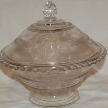 EAPG=Early American Pattern Glass Butter Dish. Cupid & Venus Pattern. 1st made by Richards & Hartley in 1875 - Glassware
