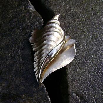 Trifari Conch Seashell Brooch - Costume Jewelry