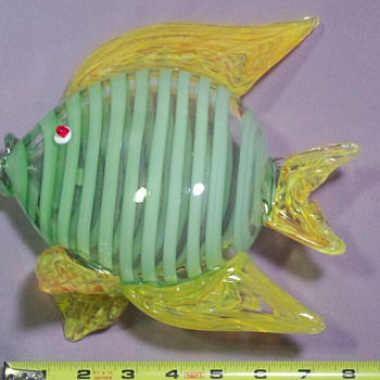 Glass fish, clear and green striped - yellow swirled fins - Art Glass