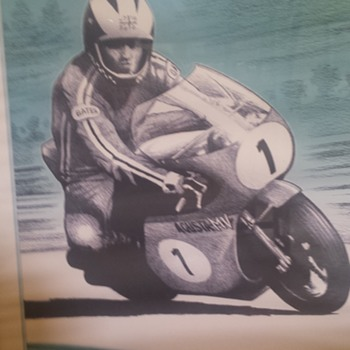 1970 ies Motorcycle racing lithograph - identify artist from signature