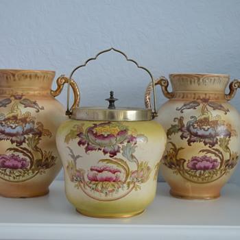 Crown Devon Fieldings vases and biscuit barrel  - Pottery