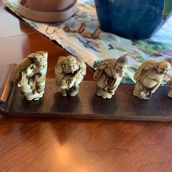 Collection of seven Asian figurines. I believe they are very old. - Asian
