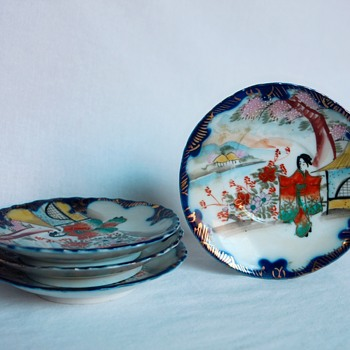 Antique Japanese Kutani Geisha Chocolate or Tea Pot, Cups & Saucers - China and Dinnerware
