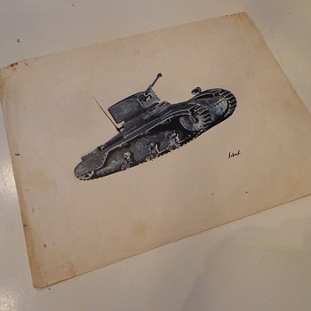 Vintage Tank Painting by, John Summers  - Military and Wartime