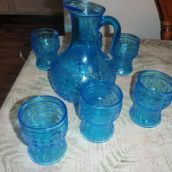 cobalt glass and pitcher . italy and yellow set of cups ...dont know much about them. - Glassware