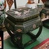 """Black Lacquer """"Garden Stool"""" Tables/Bird and Floral Designs/Labeled""""Jinlong Furniture Factory"""" Beijing China/Circa 20th Century"""