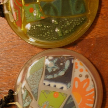 Signed Higgins Fused Glass Medallions  1992