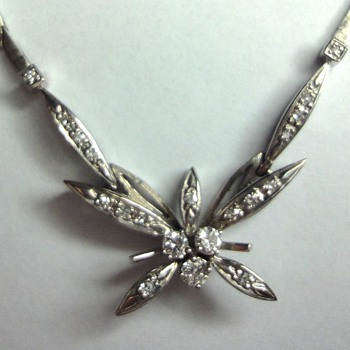 14K White Gold Butterfly Diamond Necklace.  - Fine Jewelry