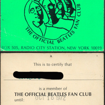Official Beatles Fan Club membership card - Music Memorabilia