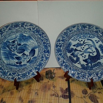 Chinese Blue & White Chargers - Asian
