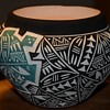 Large Signed Acoma Bowl - with incised, two-color design