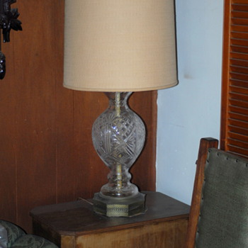 1950's Lead Crystal Lamp, Indians firing the parrie (copy over 100 years old.)