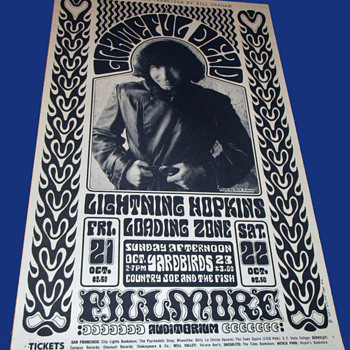 GRATEFUL DEAD Original Fillmore Auditorium Poster from October 1966 - Posters and Prints