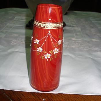 Rindskopf? enameled vase - Art Glass