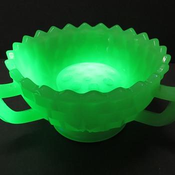 Jobling Jade Uranium Glass 3 Legged Bowl - Glassware