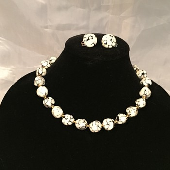 White and Black Stone Necklace and Earrings - Fine Jewelry