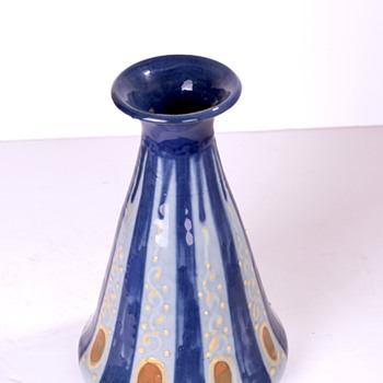 polychrome art deco vase with modernist motif made by French artist Léon Elchingern (1871 - 1942).  - Art Deco