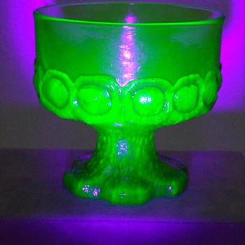 Tiffin Dessert Compote ~ Madeira Pattern Citron Green ~ Uranium - Glassware