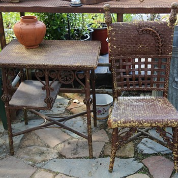 Victorian Wicker Table and Chair