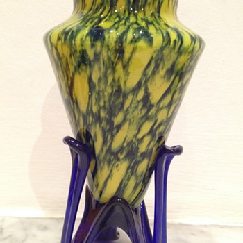 Czech Art Deco rocket foot vase in an unknown decor  - Art Glass