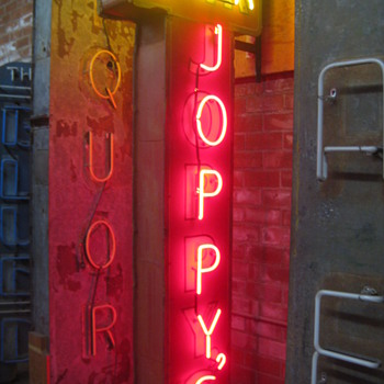 Vintage 1970's JOPPY'S BAR Antique Two-Sided Neon Sign  - Signs