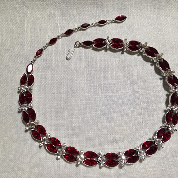 Kramer red  and clear rhinestone choker with hook, midcentury - Costume Jewelry