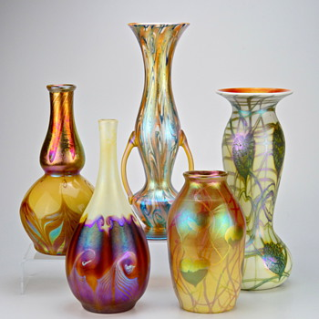 A Small Collection of Tiffany, Quezal and Imperial Art Glass