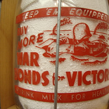 TAMPA STOCK FARMS DAIRY WAR SLOGAN....SOLDIERS IN FOX HOLES - Bottles